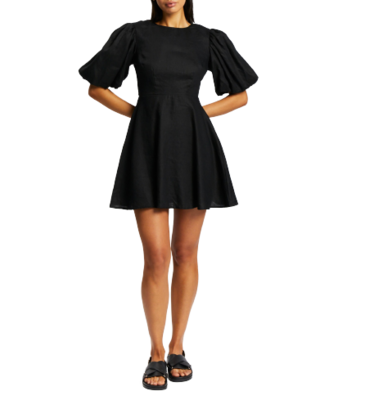 Rent: Puff Sleeve Linen Mini Dress Size 10