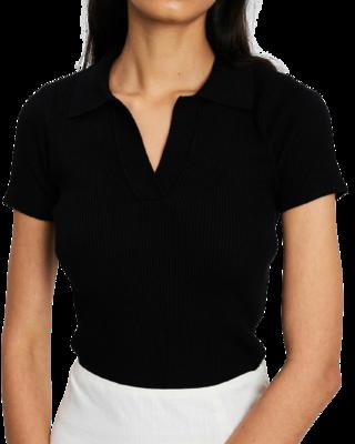 Buy: Black Ribbed Collar Shirt Size 8