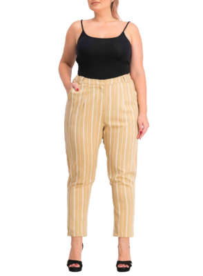 Buy: White/Yellow Striped Cigarette Trousers Size 6