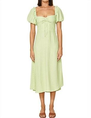 Rent: Juniper Pale Green Check Midi Dress Size 10