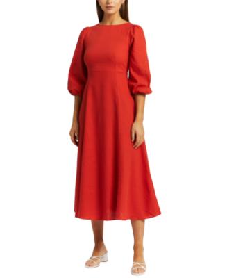 Buy: Brianna Linen Blend Midi Dress BNWT Size 12