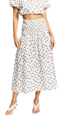 Rent: Ruched Linen Midi Skirt BNWT Size 8