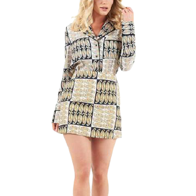 Rent: Oyster Paisley Archaic Shirt & Skirt Co-Ord Size 10