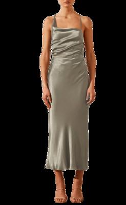 Rent: La Lune Asymmetrical Bias Cowl Midi Dress Size 8